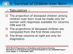 1 survival of children ever born8