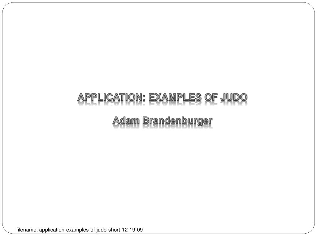 application examples of judo adam brandenburger l.