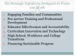 six strategic initiatives designed to focus our work