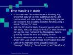 error handling in depth