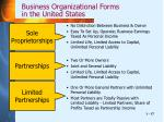 business organizational forms in the united states
