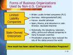 forms of business organizations used by non u s companies