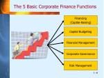 the 5 basic corporate finance functions
