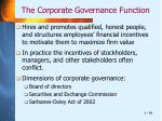 the corporate governance function
