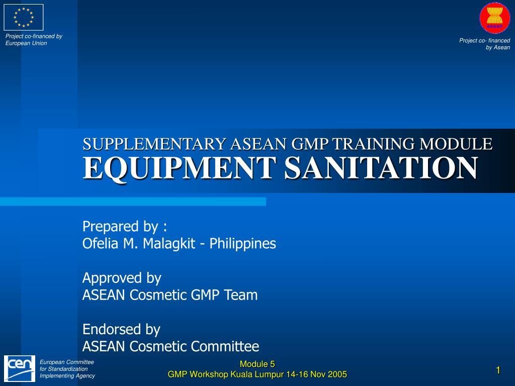 supplementary asean gmp training module equipment sanitation l.