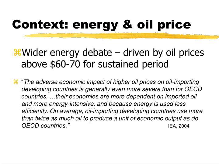 Context energy oil price