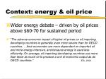 context energy oil price