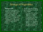 storage of vegetables