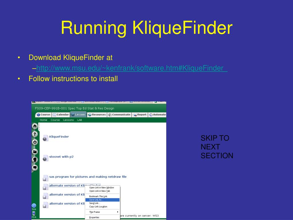 running kliquefinder l.