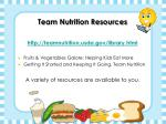 team nutrition resources