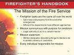the mission of the fire service