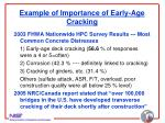 example of importance of early age cracking