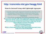 http concrete nist gov lwagg html