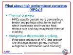 what about high performance concretes hpcs
