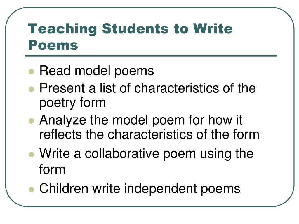 Ppt Teaching Poetry Writing Powerpoint Presentation Free