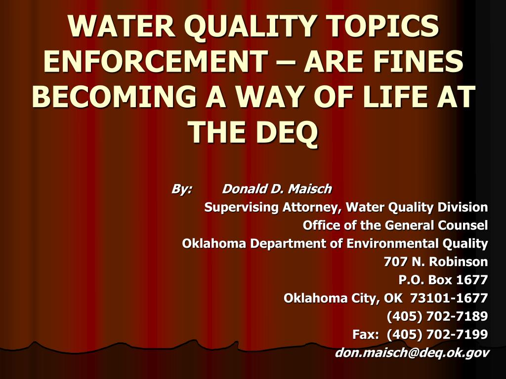 water quality topics enforcement are fines becoming a way of life at the deq l.