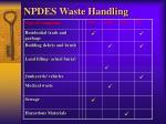 npdes waste handling