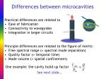 differences between microcavities