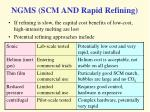 ngms scm and rapid refining