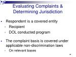 evaluating complaints determining jurisdiction