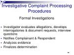 investigative complaint processing procedures