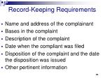 record keeping requirements60