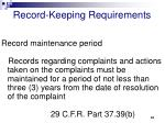 record keeping requirements61