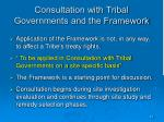 consultation with tribal governments and the framework