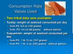 consumption rate values used