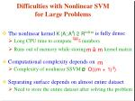 difficulties with nonlinear svm for large problems