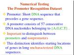 numerical testing the promoter recognition dataset