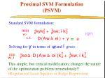 proximal svm formulation psvm