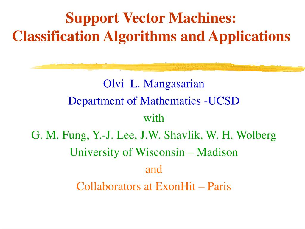 support vector machines classification algorithms and applications l.