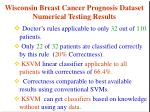 wisconsin breast cancer prognosis dataset numerical testing results