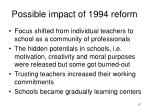 possible impact of 1994 reform