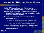 introduction hpc user forum mission
