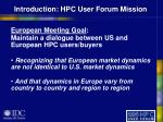 introduction hpc user forum mission6