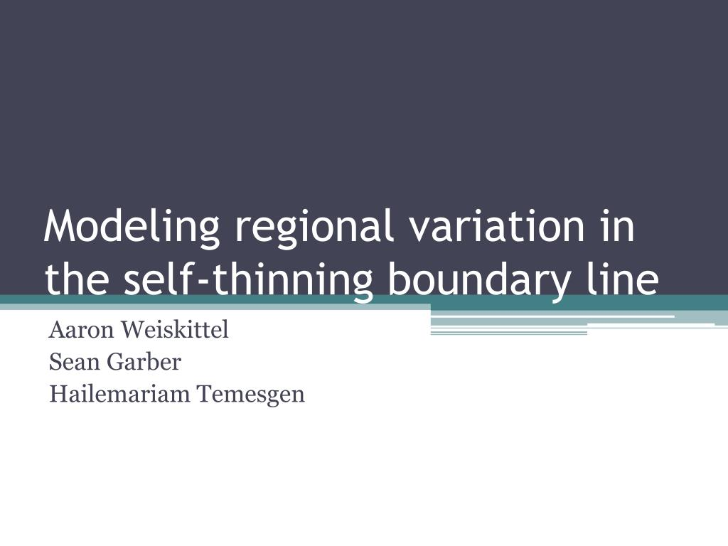 modeling regional variation in the self thinning boundary line l.