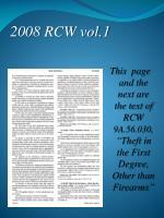2008 rcw vol 1