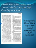 e3shb 1001 adds other than motor vehicles into the theft first degree statute