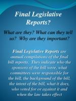 final legislative reports