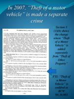 in 2007 theft of a motor vehicle is made a separate crime