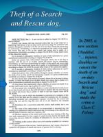 theft of a search and rescue dog