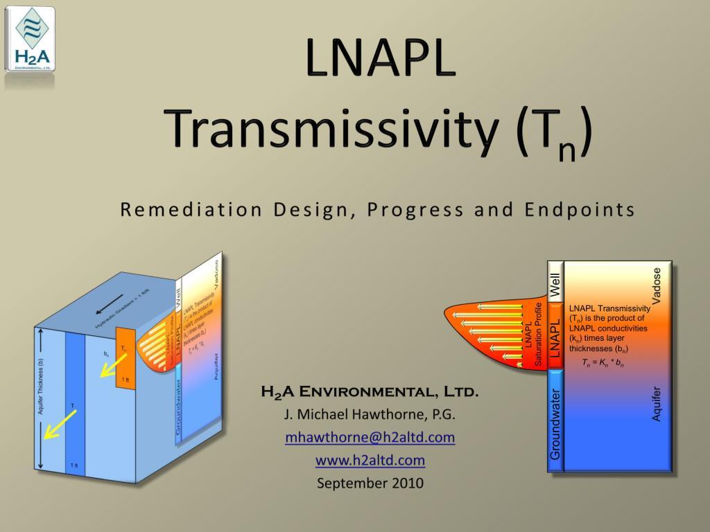 lnapl transmissivity t n remediation design progress and endpoints l.
