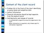 content of the client record20