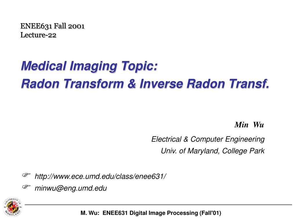 medical imaging topic radon transform inverse radon transf l.