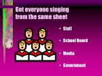 get everyone singing from the same sheet