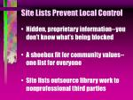 site lists prevent local control