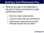 building a team effectiveness plan