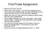 first finale assignment